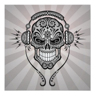 Grey DJ Sugar Skull with Rays of Light Custom Announcements