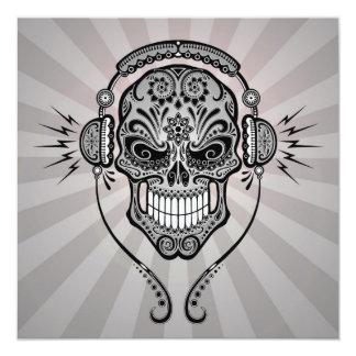 "Grey DJ Sugar Skull with Rays of Light 5.25"" Square Invitation Card"