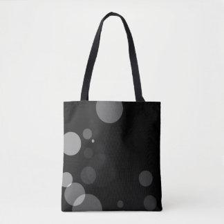 Grey Dots On Black Background Tote Bag