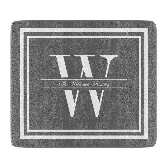 Grey Double Border Monogram Cutting Board