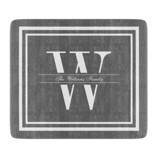Grey Double Border Monogram Cutting Boards