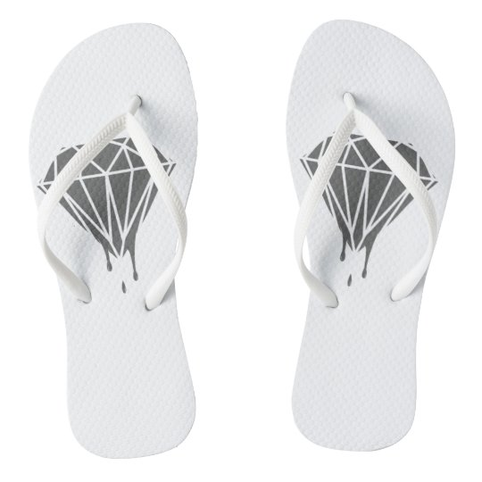 Grey dripping diamond White Adult, Slim Straps Flip Flops