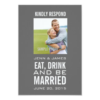 Grey Eat Drink Be Married Photo Wedding RSVP Card