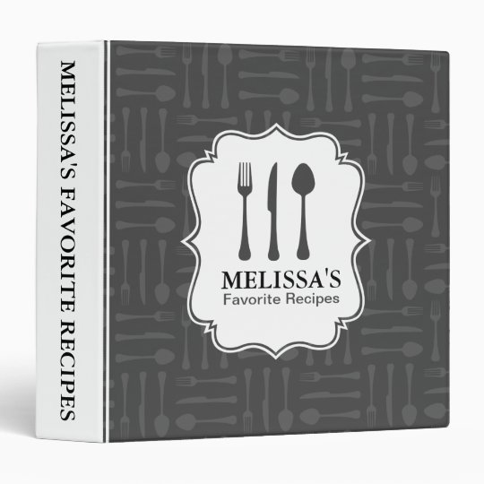 Grey Eating Utensils Recipe Binder