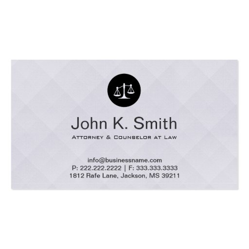 Grey Elegant Attorney/Lawyer Business Card