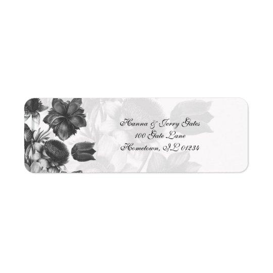 Grey Elegant Flower Address Labels