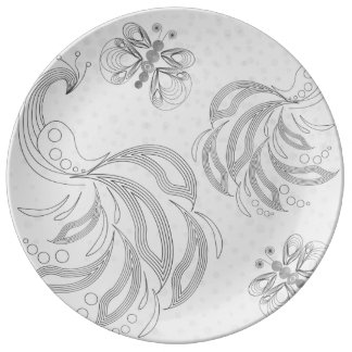 Grey, elegant retro peacock pattern with halftones porcelain plate