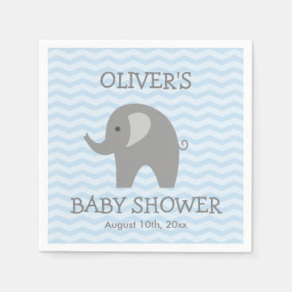 Grey elephant and blue chevron baby shower napkins paper napkins