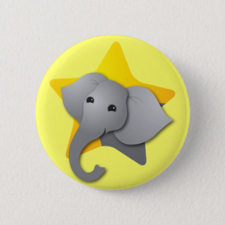Grey elephant surprise! star 2 inch round button