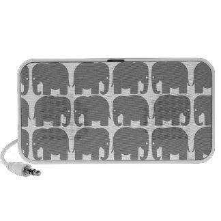 Grey Elephants Silhouette Doodle Travel Speaker