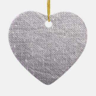 Grey fabric background burlap ceramic heart ornament