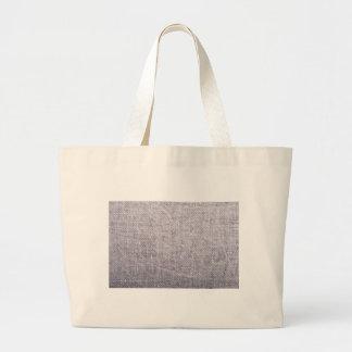 Grey fabric background burlap large tote bag
