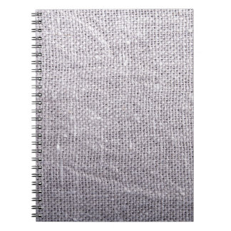 Grey fabric background burlap spiral notebook