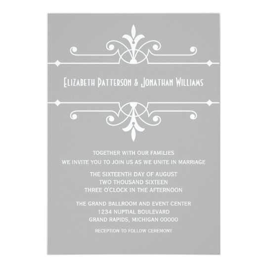 Grey Fancy Ornamental Wedding Invite