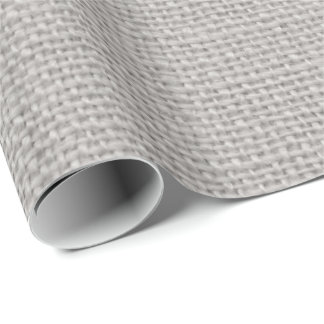 Grey faux burlap Country wrapping paper