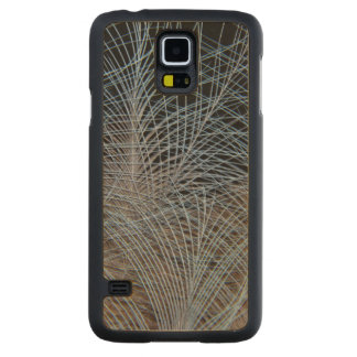 Grey Feather Abstract Carved Maple Galaxy S5 Case