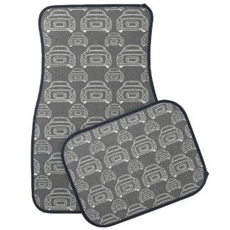 Grey Figaro Car Mats - Monoline Pattern Car Carpet