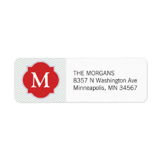 Grey & Firebrick 3 Modern Chevron Custom Monogram Return Address Label