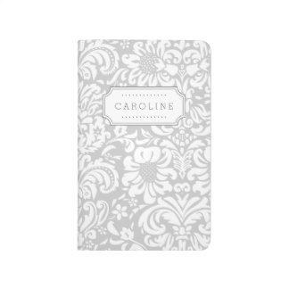 Grey Floral Damask Monogram Journal