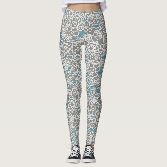 Grey Floral Leggings