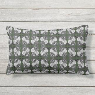 Grey Floral Motif on Dark Green Pillow DelynnAdams