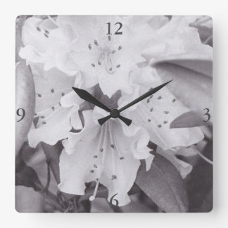 Grey Floral Square Clock