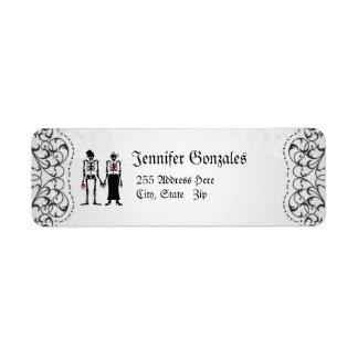 Grey Flourish Skeleton Couple Address Labels