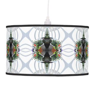 Grey Flower and Fence Fractal Hanging Lamp