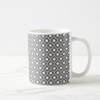 Grey Flower Argyle Pattern Coffee Mug