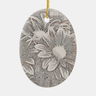 Grey Flower - Digital Floral Art Ceramic Oval Ornament