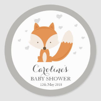 Grey Fox Woodland Love Heart Baby Shower Sticker Classic Round Sticker