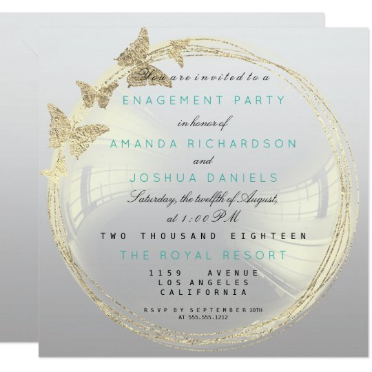 Grey Foxier Golden Bubble Wedding Engagement Ombre Card