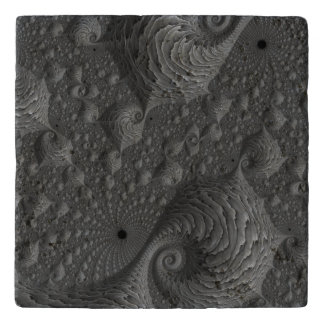 Grey Fractal on Stone Trivet