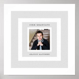 Grey Frames Photo Graduation Signature Poster