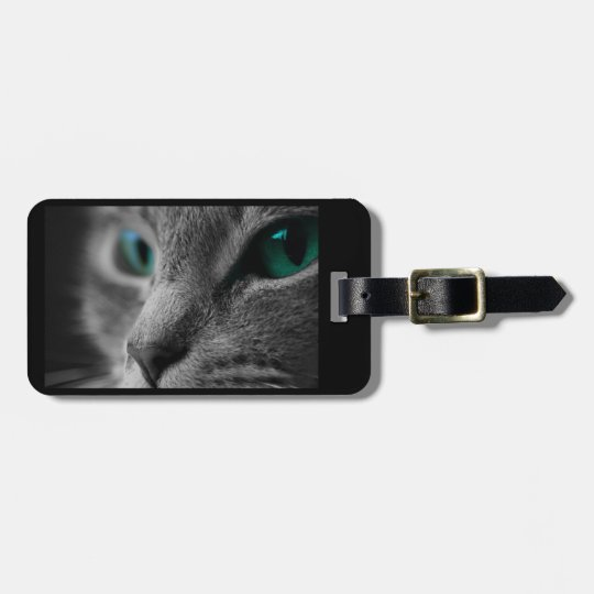 Grey Fur Cat Face with Beautiful Green Eyes Luggage Tag