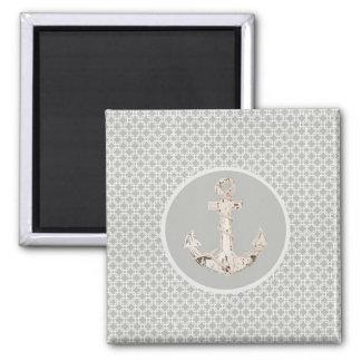 Grey Geometric Pattern Preppy Coastal Anchor Square Magnet
