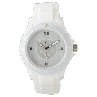 Grey Geometric Pattern Preppy Coastal Anchor Wrist Watches