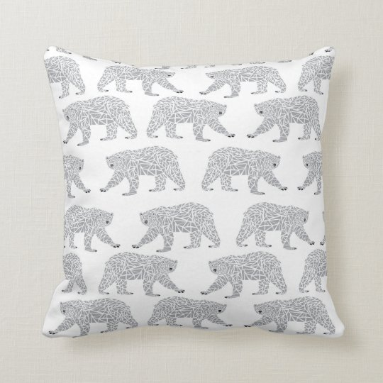 Grey Geometric Polar Bear Design - Minimal Baby Throw Pillow