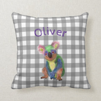 Grey Gingham with Rainbow Koala and Baby Name Throw Pillow