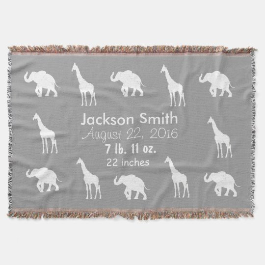 Grey Giraffes Elephants Personalized Baby Blanket