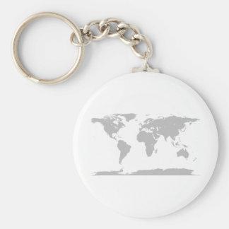grey globe basic round button keychain