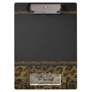 Grey & Gold Cheetah Leopard Glam Personalized Clipboard