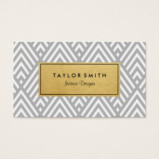 Grey & Gold Chevron Pattern Business Card