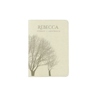 GREY GOLD FALL AUTUMN TREES leather MONOGRAM Passport Holder