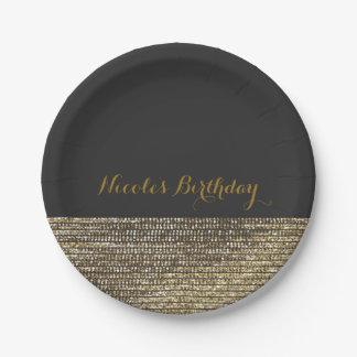 Grey & Gold Modern Glam Sequins Chic Elegant Plate