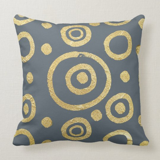 Grey & Gold Textire Circles Pattern Throw Pillow