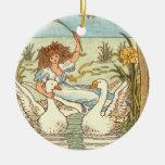 """Grey Goose and Gander"" Round Ceramic Ornament"