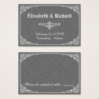 Grey Gothic Victorian Damask Wedding Place Card