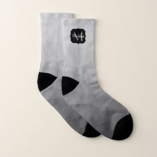 Grey Gradient Geometric Mesh Monogram Socks