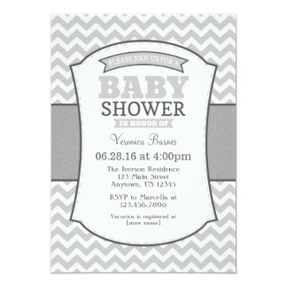 Grey Gray Chevron Baby Shower Invitation
